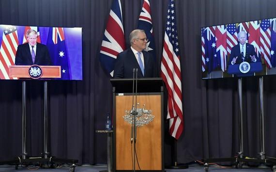 英澳美三方領導人舉行線上會議,澳總理莫里森(中)。 (圖源:互聯網)