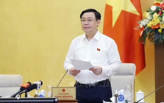 國會主席王廷惠在會上致詞。(圖源:越通社)