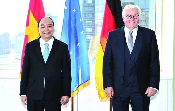 國家主席阮春福會見德國總統弗蘭克‧瓦爾特‧施泰因邁爾。(圖源: 越通社)