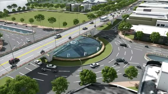 Phối cảnh nút giao thông 3 tầng phía Tây cầu Trần Thị Lý