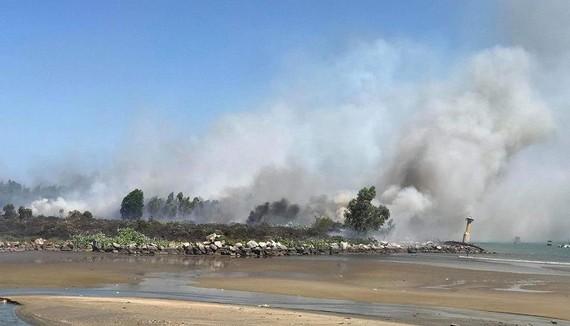 Kịp thời dập tắt đám cháy lớn trên bán đảo Sơn Trà