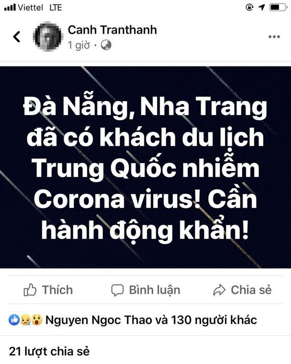 Một tài khoản facebook lan truyền thông tin Đà Nẵng, Nha Trang đã có du khách nhiễm virus Corona
