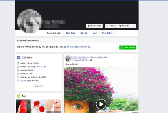 Trang cá nhân H.T.T đăng thông tin sai đã xoá dòng status
