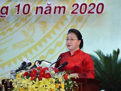 Chủ tịch Quốc hội Nguyễn Thị Kim Ngân phát biểu tại đại hội. Ảnh: TTXVN