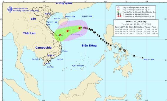 Direction of the typhoon on November 12 (Photo: national weather bureau)