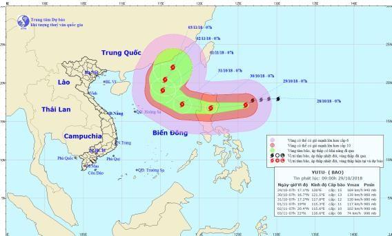 Direction of typhoon Yutu on October 29 (Photo: national weather bureau)