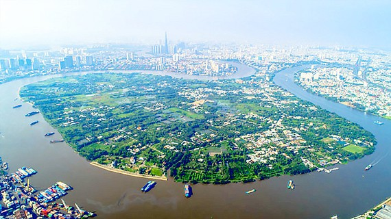 A top side view of Binh Quoi-Thanh Da area in HCMC