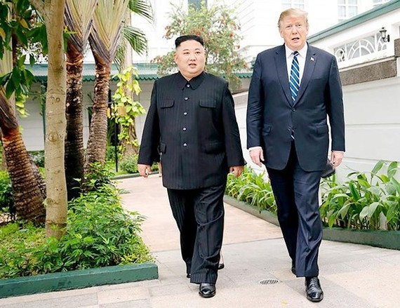 DPRK leader Kim Jong-un and US President Donald Trump during their second summit in Hanoi in February (Photo: VNA)