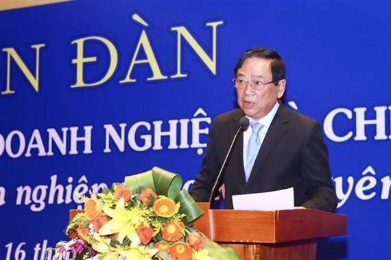 Mai Duc Loc, Deputy Chairman of the Vietnam Journalists Association speaks at the event (Photo: VNA)