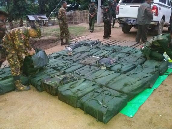 Myanmar authorities confiscate a total 38 bags filled with methamphetamine on August 25. (Photo: mdn.gov.mm)