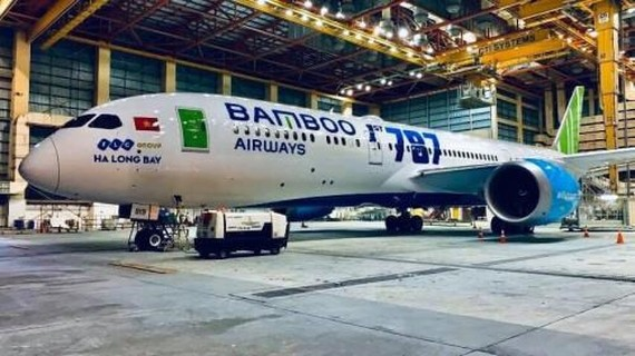 Bamboo Airways takes delivery of a Boeing 787-9 Dreamliner, its first wide-body aircraft, at Noi Bai International Airport on December 22.