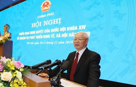 Party General Secretary and State President Nguyen Phu Trong speaks at the event (Photo: VNA)