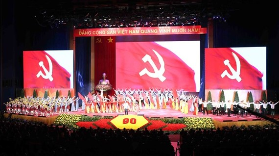 The ceremony marking the 90th founding anniversary of the Communist Party of Vietnam in Hanoi on February 3 (Photo: VNA)
