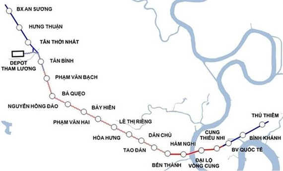 Metro Line No 2's planned stations and route map. (Photo courtesy of the HCM City Management Authority of Urban Railways)