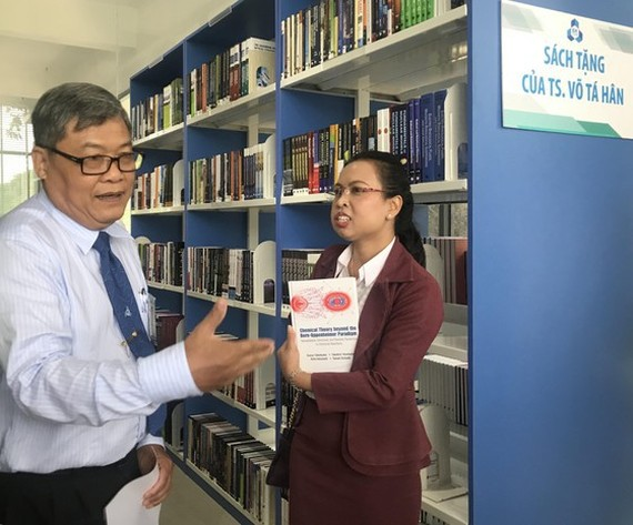The area where books given by Dr. Vo Tan Huan to HCMC University of Technology are shelved in HCMC University of Technology (Photo: SGGP)