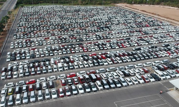 Unsold cars at a garage in Nha Be District (taken on May 6)