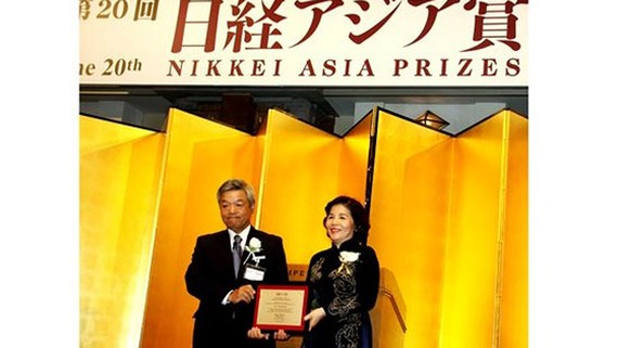 """Bà Mai Kiều Liên là người Việt Nam duy nhất đoạt giải trong lĩnh vực """"Kinh tế và đổi mới doanh nghiệp"""" của Giải thưởng Nikkei châu Á năm 2015"""