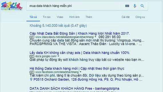 Tra cứu trên mạng dễ dàng tìm thấy rất nhiều trang web  công khai rao bán thông tin cá nhân