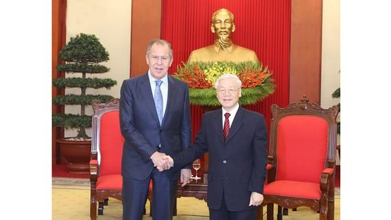 Tổng Bí thư Nguyễn Phú Trọng tiếp Bộ trưởng Ngoại giao Nga Sergey Lavrov
