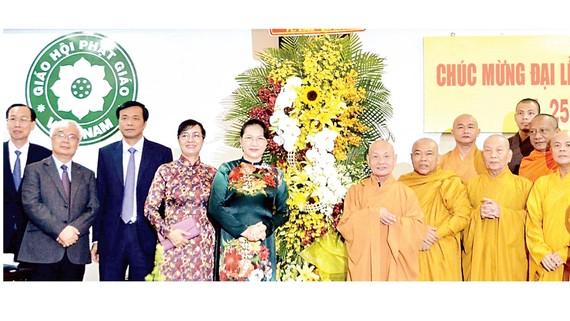 Chủ tịch Quốc hội Nguyễn Thị Kim Ngân tới thăm Văn phòng 2 Giáo hội Phật giáo Việt Nam