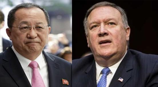 Ngoại trưởng Triều Tiên Ri Yong-ho, ngoại trưởng Mỹ Mike Pompeo (từ trái sang)