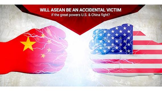 Tranh minh họa cuộc chiến thương mại Mỹ - Trung tác động đến kinh tế ASEAN