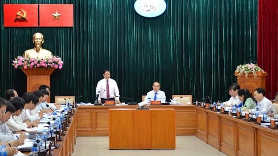 Trưởng Ban Tổ chức Trung ương Phạm Minh Chính phát biểu tại buổi làm việc