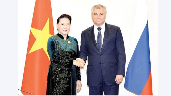 Chủ tịch Quốc hội Nguyễn Thị Kim Ngân hội kiến Chủ tịch Duma quốc gia Nga Vyacheslav Volodin. Ảnh:TTXVN