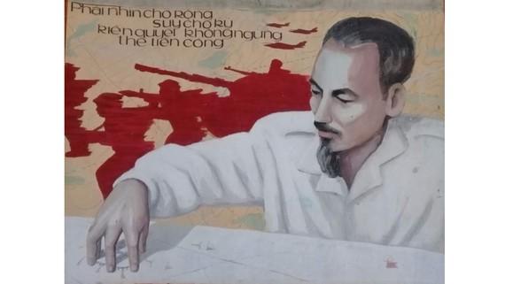 Tranh cổ động của họa sĩ Lê Nhường tặng Bảo tàng Hồ Chí Minh