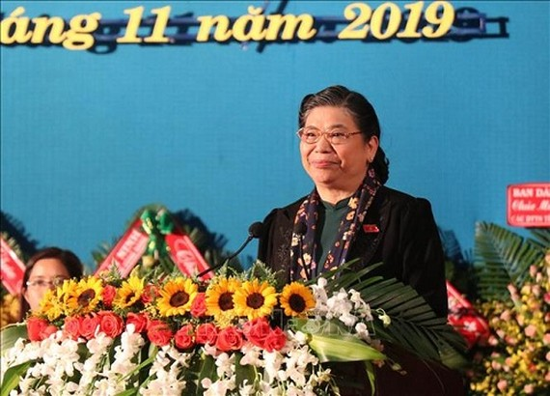 Phó Chủ tịch Thường trực Quốc hội Tòng Thị Phóng phát biểu tại Đại hội. Ảnh: TTXVN