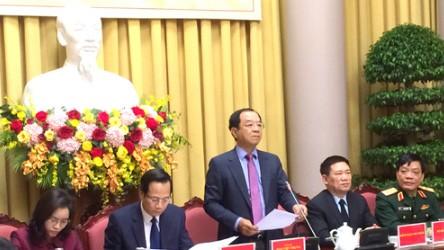 Chủ nhiệm Văn phòng Chủ tịch nước Đào Việt Trung công bố Lệnh của Chủ tịch nước tại họp báo. Ảnh: VGP/Nguyễn Hoàng