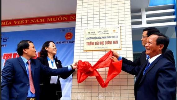 khánh thành công trình phòng tránh thiên tai Trường tiểu học Quảng Thái. Ảnh: TTXVN