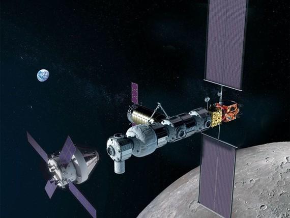 Tàu vũ trụ Orion của NASA (trái) tiếp cận trạm Lunar Gateway. Ảnh: NASA