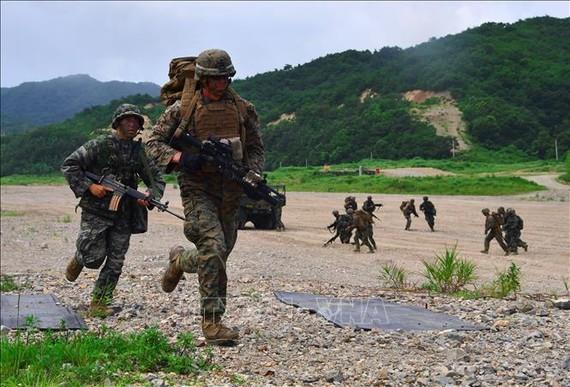 Binh sĩ tham gia diễn tập tại căn cứ quân sự ở cảng Pohang, miền Đông Nam Hàn Quốc ngày 6/7/2016. Ảnh: AFP/TTXVN