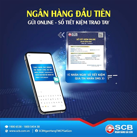 """SCB Chính thức ra mắt tính năng """"nhận sổ tiết kiệm online"""" qua SMS"""