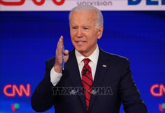 Cựu Phó Tổng thống Mỹ Joe Biden tại cuộc tranh luận trực tiếp trên truyền hình lần thứ 11 ở Washington, DC ngày 15-3-2020. Ảnh: AFP/TTXVN