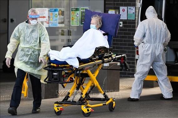 Nhân viên y tế chuyển bệnh nhân nhiễm COVID-19 tới bệnh viện ở Melbourne, Australia, ngày 30-7-2020. Ảnh: AFP/TTXVN
