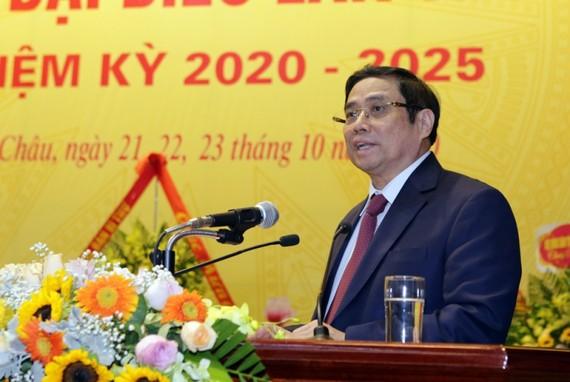 Đồng chí Phạm Minh Chính - Ủy viên Bộ Chính trị, Bí thư Trung ương Đảng, Trưởng Ban Tổ chức Trung ương phát biểu chỉ đạo tại Đại hội
