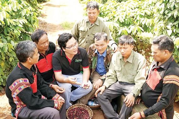 Anh Nguyễn Hữu Thông, chuyên gia nông nghiệp dự án Nescafé Plan cùng nông dân thảo luận cách chăm sóc cà phê trên vườn đạt hiệu quả tối ưu nhất