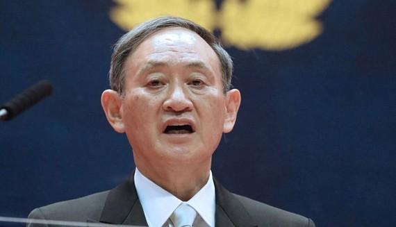 Thủ tướng Nhật Bản Suga Yoshihide phát biểu tại lễ tốt nghiệp của Học viện Quốc phòng ngày 21-3. Nguồn: Kyodo