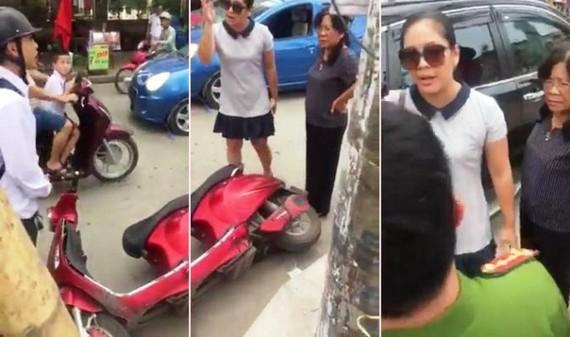 Hình ảnh trong đoạn clip về việc Dương Thị Thùy Trang (áo trắng, đeo kính) có lời lẽ thái độ coi thường mạng người