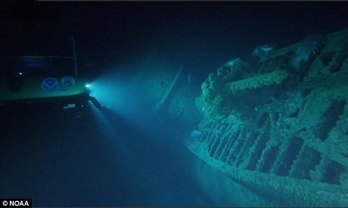 Xác tàu ngầm U-576 của phát xít Đức dưới đáy biển North Carolina. Ảnh: NOAA