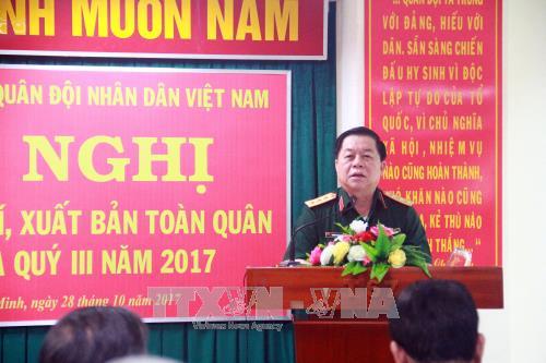 Thượng tướng Nguyễn Trọng Nghĩa, Phó Chủ nhiệm Tổng cục Chính trị Quân đội nhân dân Việt Nam chủ trì Hội nghị. Ảnh: TTXVN