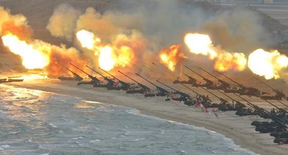Lực lượng pháo binh Triều Tiên trong một cuộc diễn tập. Ảnh: KCNA