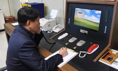 Bàn kết nối đường dây nóng giữa hai miền Triều Tiên. Ảnh: YONHAP