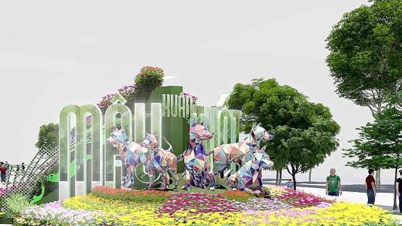 Một tiểu cảnh sẽ được thực hiện tại đường hoa Nguyễn Huệ Tết Mậu Tuất 2018