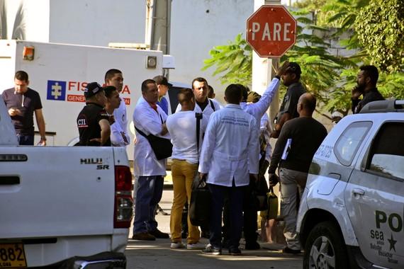 Hiện trường vụ đánh bom đồn cảnh sát quận San Jose ở thành phố cảng Barranquilla, Colombia, ngày 27-1-2018. Ảnh: REUTERS