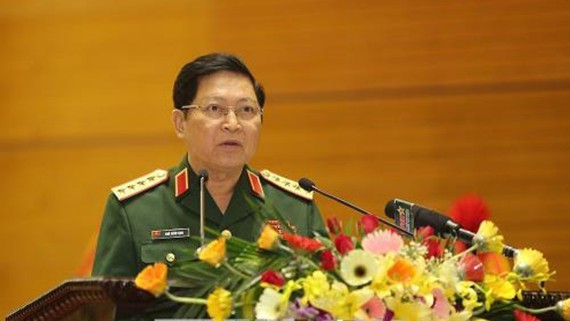 Đại tướng Ngô Xuân Lịch, Bộ trưởng Bộ Quốc phòng phát biểu. Ảnh: TTXVN