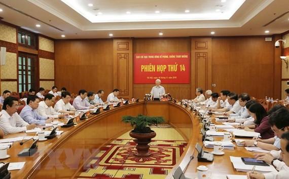 Toàn cảnh phiên họp thứ 14 của Ban Chỉ đạo Trung ương về phòng chống tham nhũng. Ảnh: TTXVN.