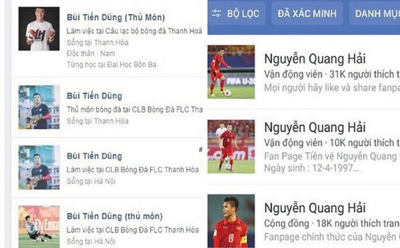 Hàng trăm tài khoản Facebook giả mạo các tuyển thủ Việt Nam